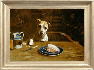 Old Master Art Portrait Animal Oil Painting Dog Temptation Canvas Unframed 24x36