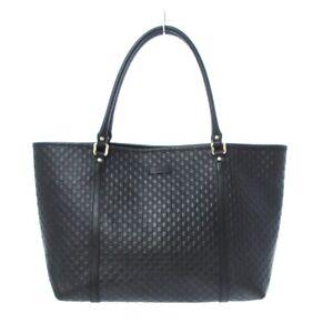 Auth GUCCI Micro Guccissima 449647 Black Leather Tote Bag