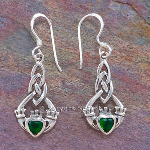 Image Is Loading Celtic Claddagh Earrings Hook Dangle Green Irish Love