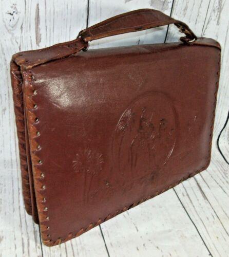 Tooled mano 30s 40s detalle Boho egipcio Rich Vintage bolso bolso de cuero ztCwqxH