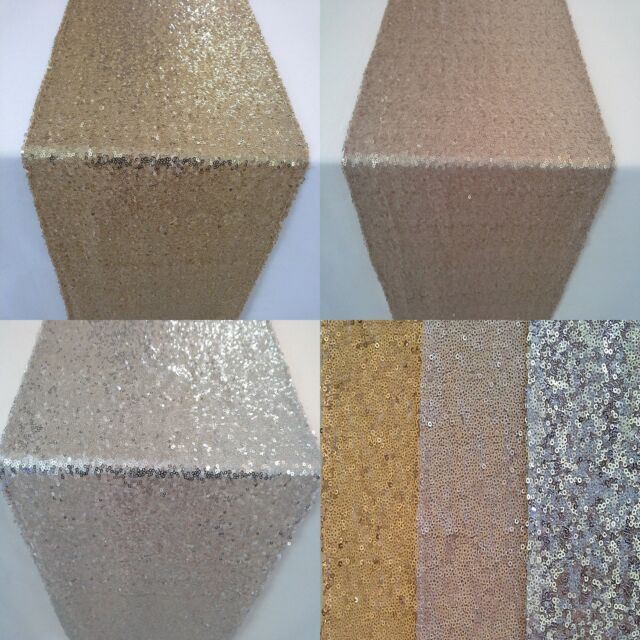 Sequin Table Runner Gold Silver Champagne Wedding Sparkly Bling Party Decor