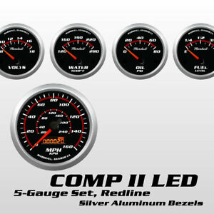 C2-Redline-5-Gauge-Set-Silver-Bezels-0-90-Ohm-Fuel-Level-Electric-Speedo