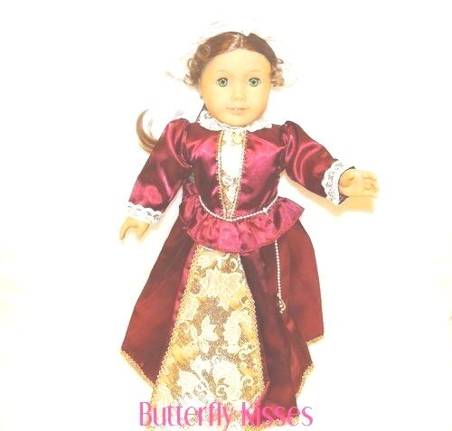 Burgundy Colonial Gown /& Mob Cap 18 in Doll Clothes Fits American Girl Dolls