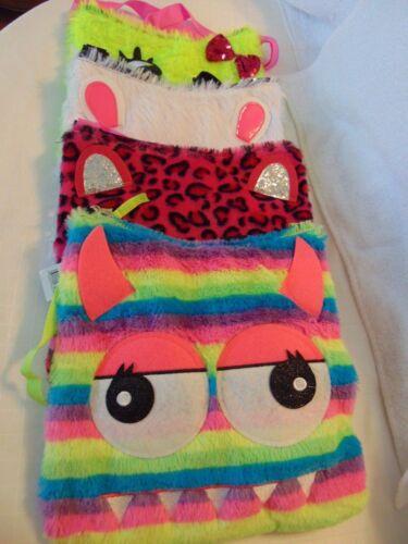 Girls Faux Fur Purse shoulder Bag CHOICE of Face Rainbow Eyes Meow Zip Close T22