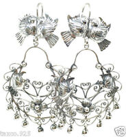TAXCO MEXICAN 925 STERLING SILVER FRIDA KAHLO DESIGN DECO EARRINGS MEXICO