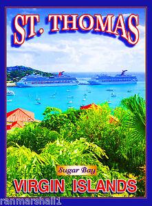 St. Thomas Virgin Islands Sugar Bay Caribbean Travel Poster Art Advertisement