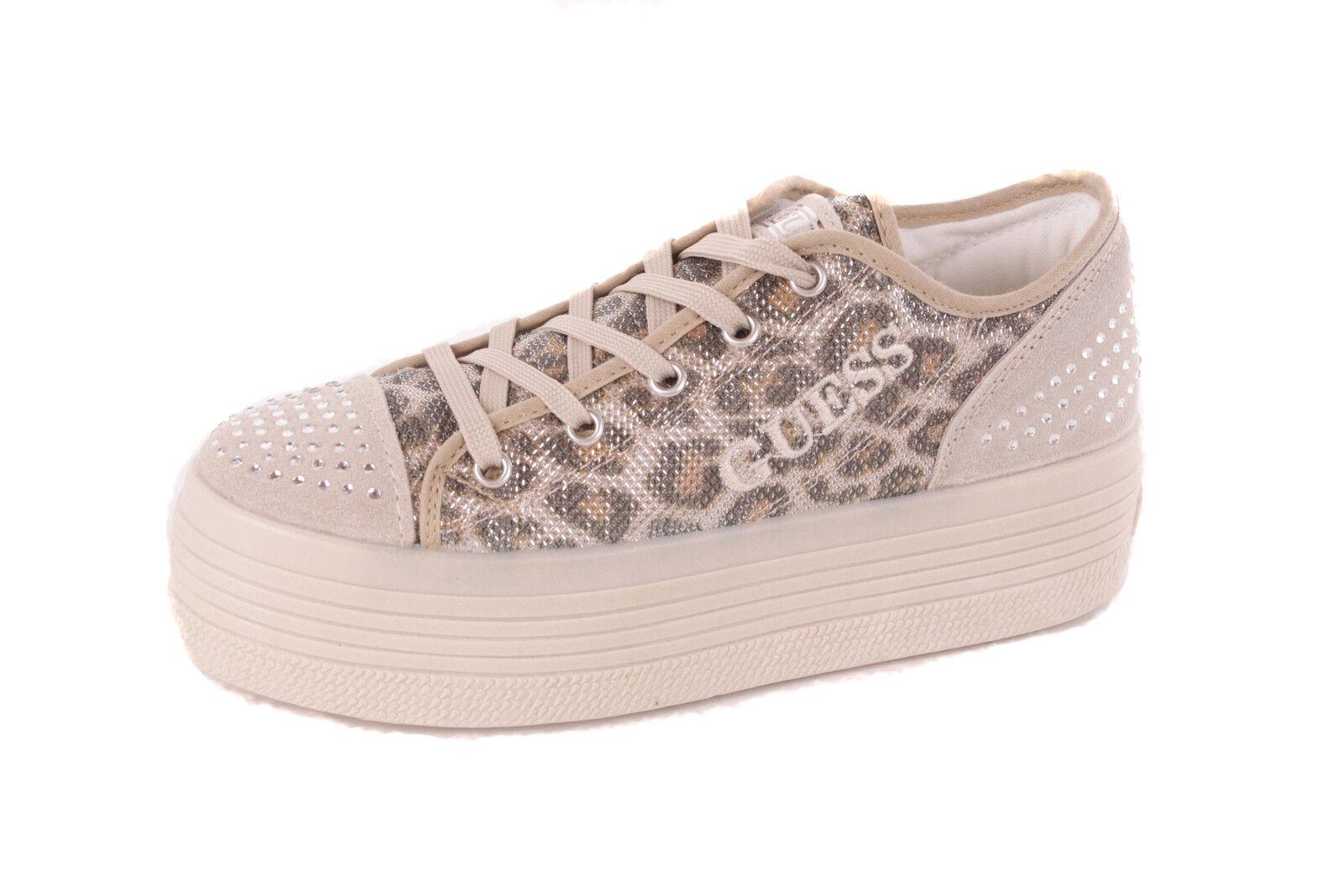 Guess women shoes da Ginnastica con Lacci Beige Stampa Leopardo  505