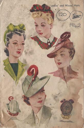 "1942 Vintage Sewing Pattern HAT S22/"" 120"