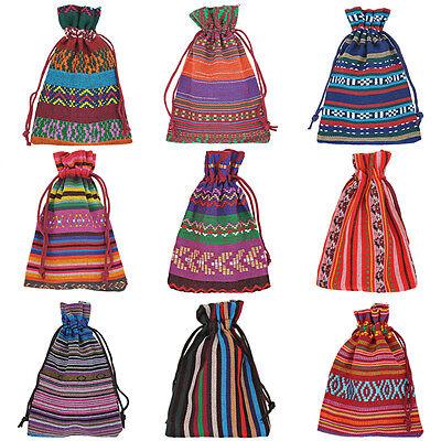 10Pcs BD Drawstring Jewelry Pouches  Cotton Gift Bags Wedding Favors 10X14