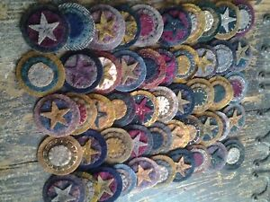 25 Sewn Wool Pennies stars and stitches Triple Stacked  Primitive  Assortment