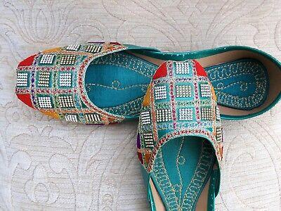 Señoras indio Verde Boda Khussa tamaño del zapato 5