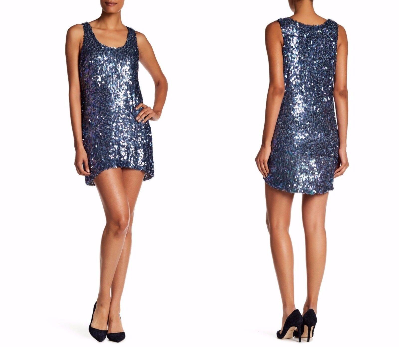 NEW Dress the Population 'Leah' Sequined Shift Dress Ice [SZ Medium]  E116