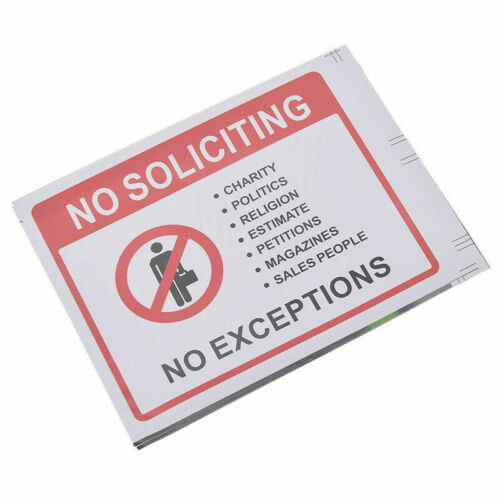 2Sheets No Soliciting Warning Sign Sticker Waterproof  PVC Front Door Signs Home