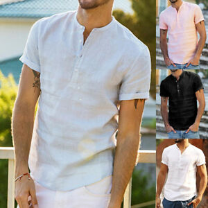 Men-039-Linen-Short-Sleeve-Luxury-Solid-T-Shirts-Casual-Loose-Dress-Formal-Tops-Tee