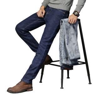 Para-hombres-Informales-Pantalones-de-Algodon-Lana-Forrada-De-Jean-Denim-Pantalones-Grueso-Calido