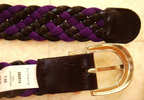 edf9c1e6268 5 sur 6 Mary Kimberley Ceinture Tressee Cuir Synthetique Violet Prune Femme  Belt Woman