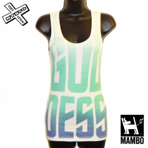 """MAMBO /""""déesse Débardeur/"""" Haut Femme sans manches T-Shirt blanc Vert UK 12 RRP £ 20"""