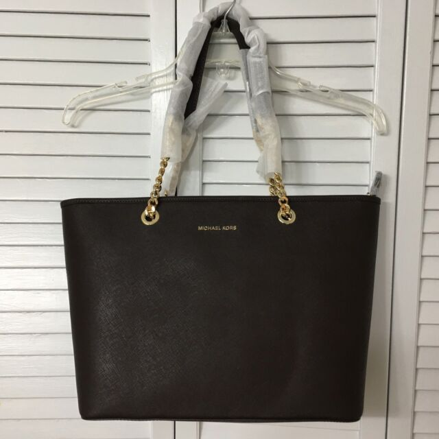 464e57906d8c Michael Kors Jet Set Travel Chain Multifunction Saffiano Leather Tote Bag  Coffee