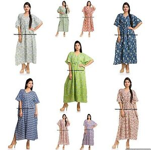 Boho-Women-V-Neck-Cotton-Linen-Long-Tops-Indian-Kaftan-Party-Split-Maxi-Dress
