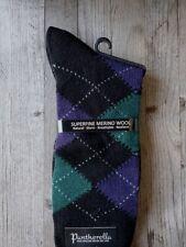Pantherella Racton Argyle Merino Wool Socks Dark Brown