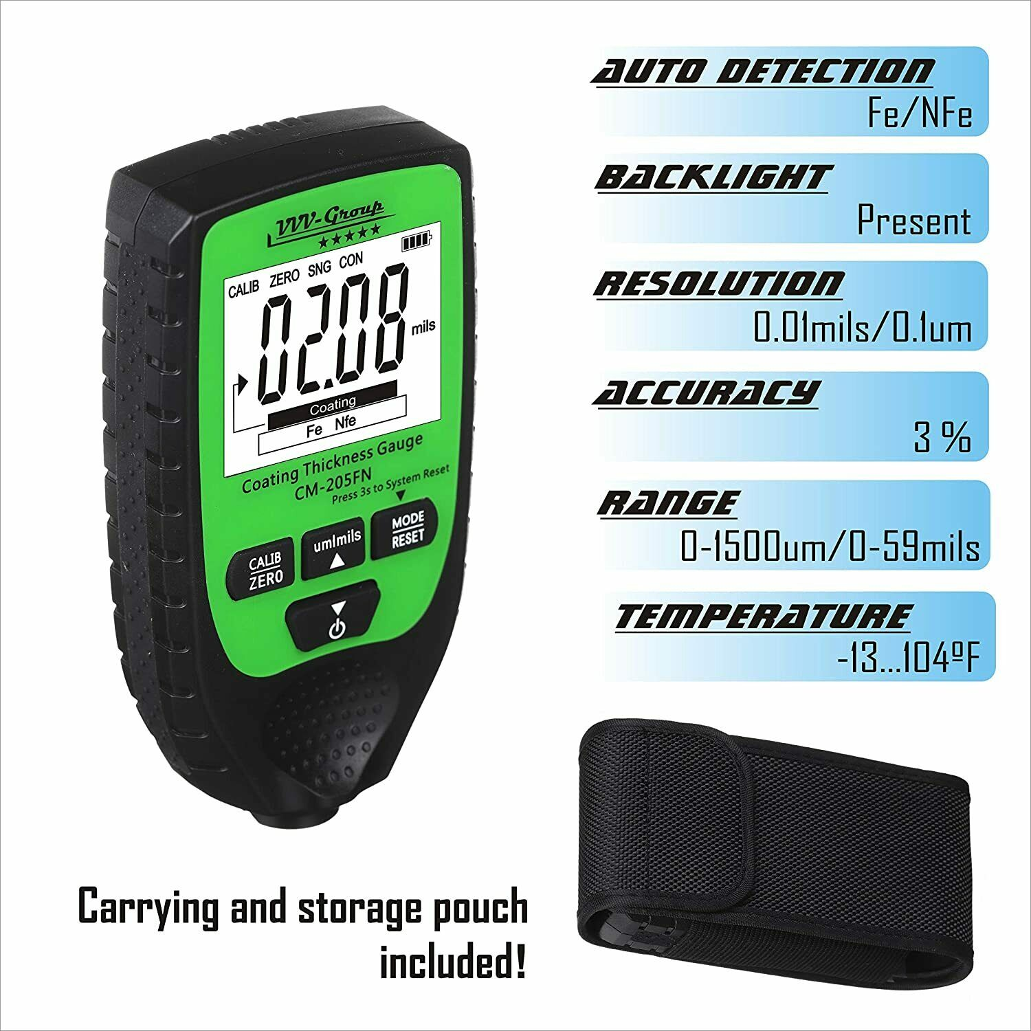 Coating Thickness Gauge CM-205FNBest Digital Meter for Automotive Paint Thick