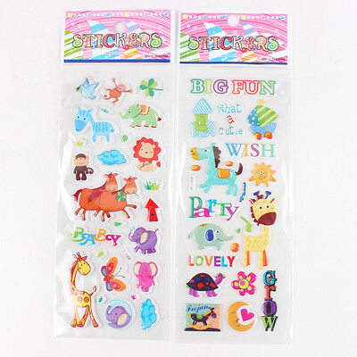 New 4pcs/lot Zoo Animals & Dog PVC Puffy Stickers Sheet Kids Birthday Party Gift