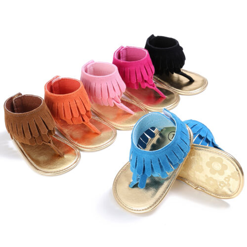 Baby Kids Pram Crib Summer First Walkers Fringed Moccasins Shoes Thongs Sandals