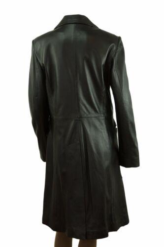 Trench lungo donna nero in pelle montati Lungo Stile Biker Moda Cappotto Giacca 5 Bottoni