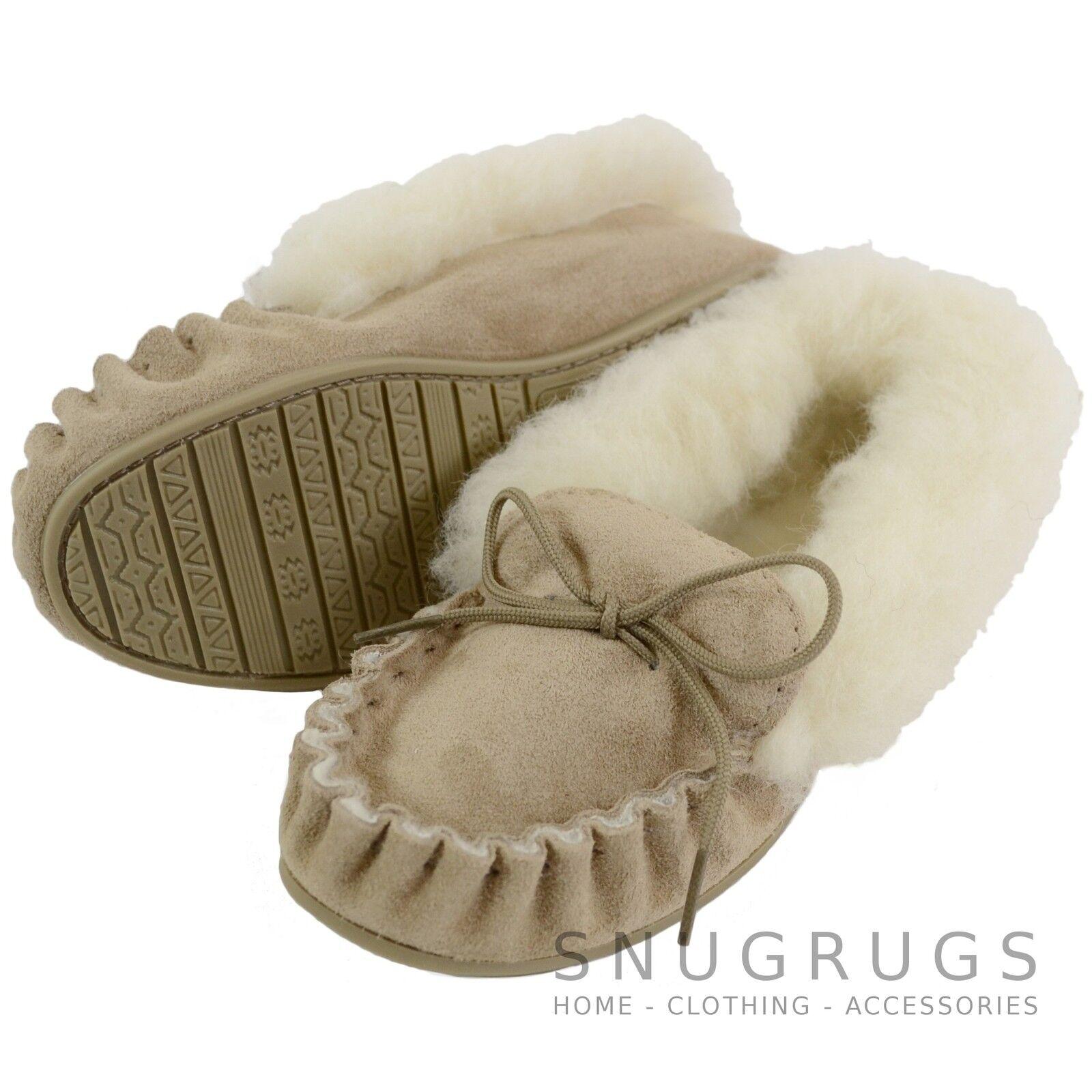 LADIES SHEEPSKIN WOOL MOCCASIN SLIPPER HARD SOLE WOOL CUFF BEIGE - MADE IN UK