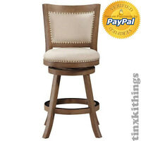 Driftwood Counter Height Swivel Stool 24in Seat Kitchen Bar Chair Wood Furniture