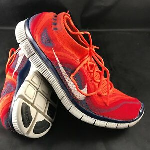6de79d5e8f NIKE FLYKNIT FREE 5.0 Mens Size US 8.5 42 Bright Crimson White-Gym ...