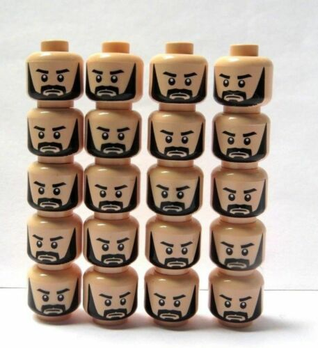 LEGO 20 Flesh Heads Head For Minifigure  Figure Man Black Beard Soldier Wedding