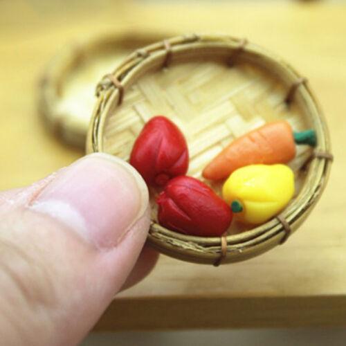 1pc dollhouse miniature 1:12 fruit food bamboo basket kids doll kitchen toysPDH
