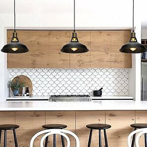 Black Metal Industrial Hanging Pendant Light Vintage Commercial - Commercial kitchen pendant lighting
