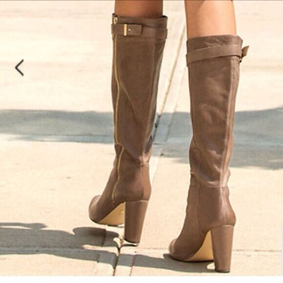 Ann Taylor Stiefel 9.5 Wide Calf Knee High Taupe Tan Braun Leder Zip Heels