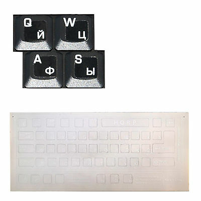 Ukrainian Cyrillic Keyboard Stickers On Transparent Background for All PC Laptops Computers HQRP Blue Russian Notebooks Desktops
