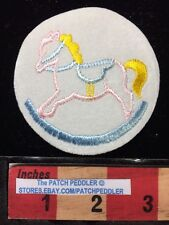 Baby Children ROCKING HORSE PATCH ~ PINK HORSE WITH YELLOW TAIL 5DA6