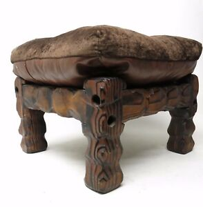 Vtg-1970-039-s-Torched-Burnt-Wood-Chunky-Carved-Overstuffed-Top-Ottoman-Footstool