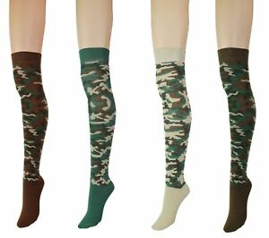 ef576d9b0f5 Women s Army Camouflage Over The Knee High Socks Halloween Costume ...