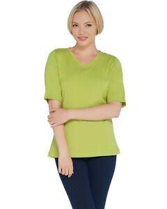 Denim-amp-Co-Womens-V-Neck-Elbow-Sleeve-Rib-Knit-Top-Medium-Deep-Lime-A307546