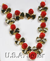 Red Coral Rose & Jade Gold Earring & 16.5 Necklace (gc41)c