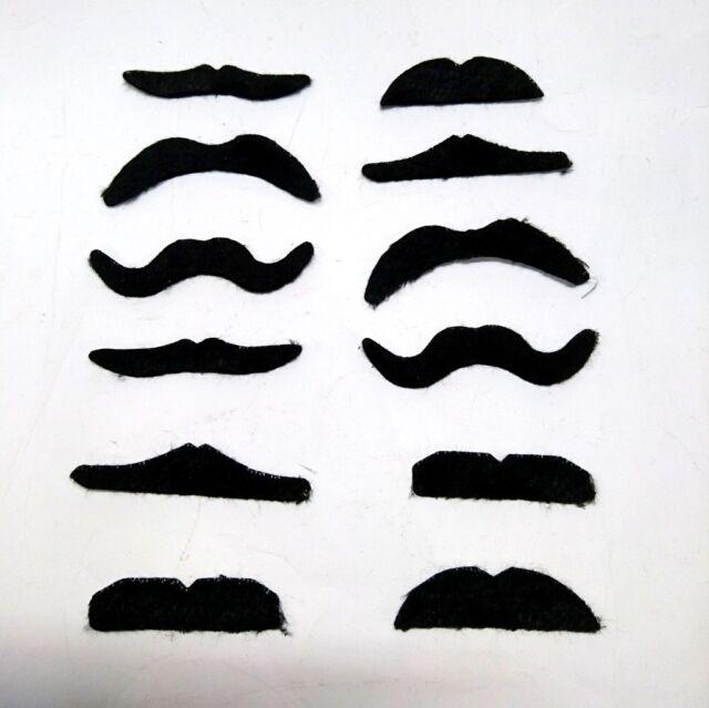 12pc Self Adhesive Black Fake Moustache Costume Stylish  Party Fancy Dress Up