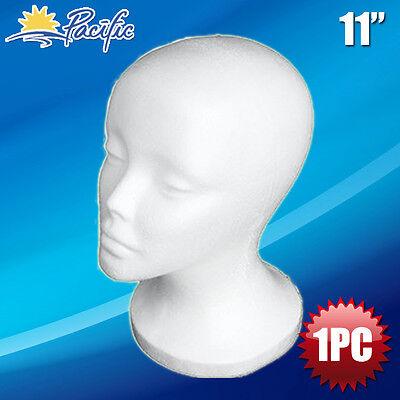 "Female STYROFOAM FOAM MANNEQUIN MANIKIN head wig display hat glasses 11"" 1pc"