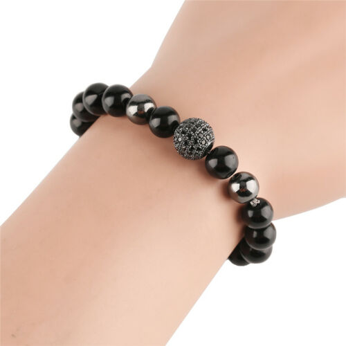 Copper Black Stone Beaded Bracelet Charm Chain Women Men Wrist Bangle Gift