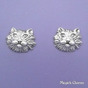 c69001c99 925 Sterling Silver KITTY CAT FACE EARRINGS Post Stud - se517 | eBay