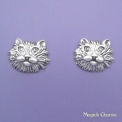 925 Sterling Silver KITTY CAT FACE EARRINGS Post Stud se517