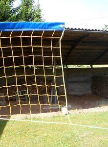 Beach-Volleyball Netz 9,5 m x 1 m, gelb, Stahlseil 3 mm, Netzspanner, knotenlos
