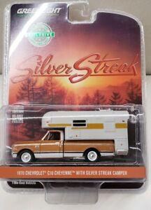 1:64 GreenLight *HOBBY EX* BROWN 1970 Chevrolet C10 w//Silver Streak Camper NIP