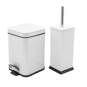 Cubo-De-Residuos-Basura-Pedal-Bano-3L-y-bano-titular-de-cepillo-Set-Acero-Blanco