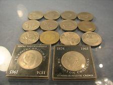 R  Fourteen crowns coins of Elizabeth II including churchill crowns